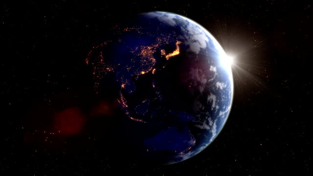 earth's rotation loop with night side city lights - global stock videos & royalty-free footage