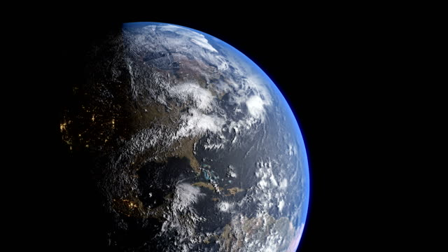 earth's rotation with night side city lights, united states city lights - satellite view stock videos & royalty-free footage