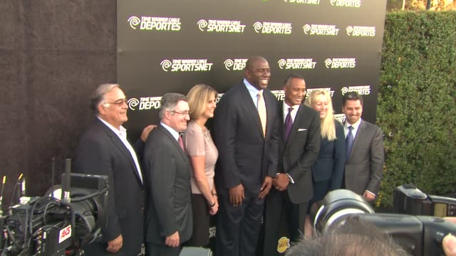 earvin 'magic' johnson at time warner sports celebrates launch of time warner cable sportsnet and time warner cable deportes networks on 10/1/2012 in... - el segundo stock-videos und b-roll-filmmaterial