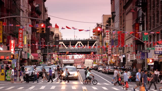east broadway chinatown in new york city - east asian ethnicity video stock e b–roll