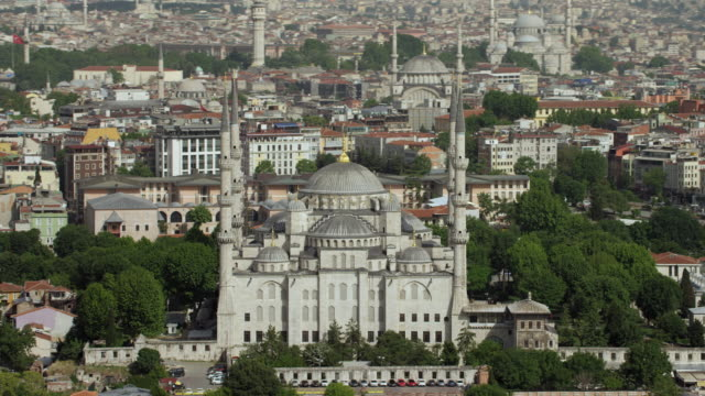 east façade of blue mosque in istanbul - blue mosque stock videos and b-roll footage
