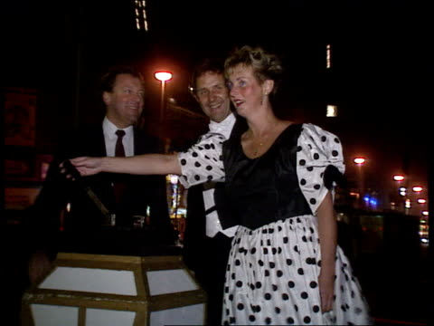 east german refugees in blackpool cms hans evelyn talking to press ext cms evelyn pulls lever to activate 'blackpool illuminations' tgv illuminations... - blackpool stock-videos und b-roll-filmmaterial