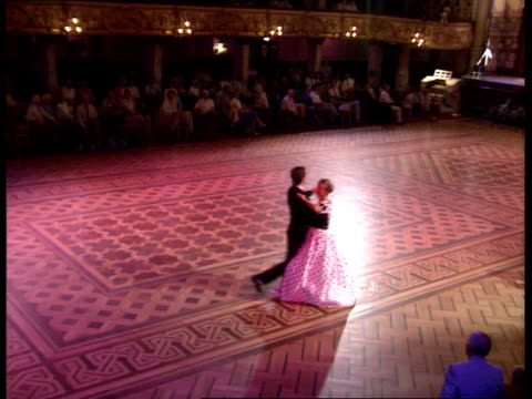 east german refugees in blackpool; tms hans & evelyn waltzing on empty dance floor as 'last waltz' played by eric delaney band sof cms hans & evelyn... - ballroom dancing stock videos & royalty-free footage