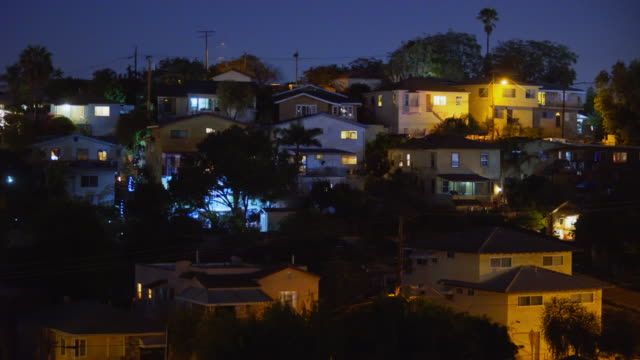 east los angeles hillside homes - night - residential district stock videos & royalty-free footage
