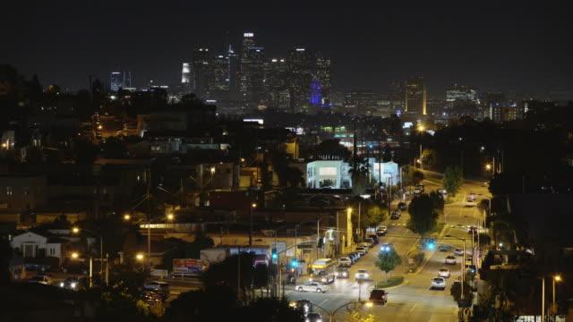 east los angeles neighborhoods and skyline - night - neighborhood street sign stock videos and b-roll footage