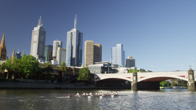 vídeos de stock, filmes e b-roll de east melbourne skyline and rowing boats on yarra river, melbourne, victoria, australia - grande angular