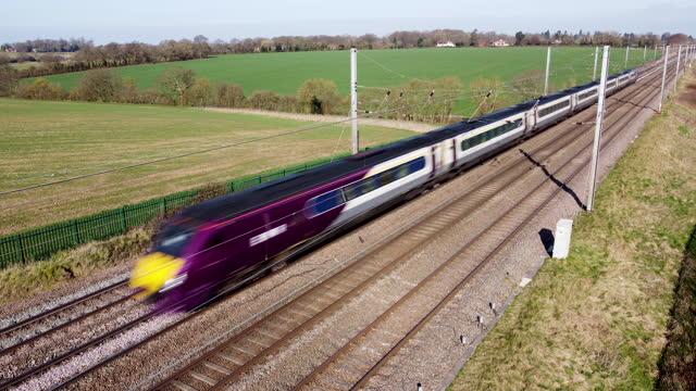 east midlands emr intercity  train travelling towards london. - rail transportation stock videos & royalty-free footage