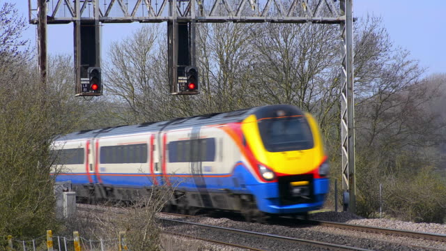 east midlands meridian train on the midland mainline. - railway signal stock videos & royalty-free footage