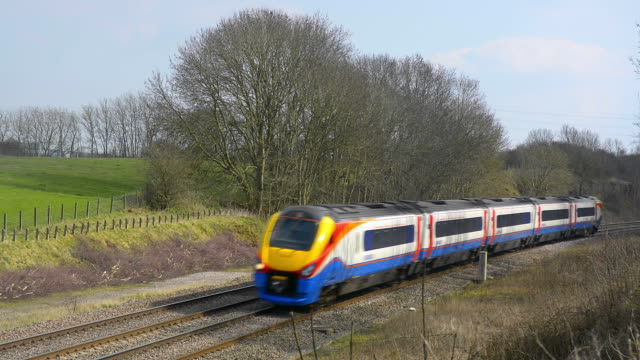 east midlands meridian train on the midland mainline. - commuter train stock videos & royalty-free footage