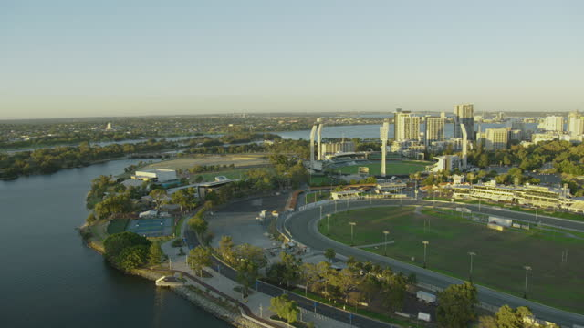 east perth aerial commercial buildings and sports stadiums - safety harness stock videos & royalty-free footage