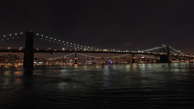 east river bridges seen from south street seaport - east river stock videos & royalty-free footage