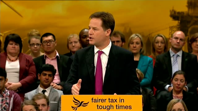 brighton: int nick clegg mp onto stage to applause at liberal democrat party conference sot nick clegg mp speech sot - be in no doubt, if we secure... - no doubt band stock videos & royalty-free footage
