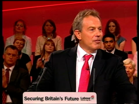 east sussex brighton int tony blair mp along as shakes hands with applauding supporters in front row at annual labour party conference cms blair... - cherie charles stock videos & royalty-free footage