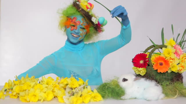 easter bunny and blue girl - easter stock videos & royalty-free footage