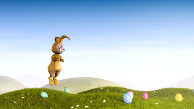 Coniglietto di Pasqua, saltando e di