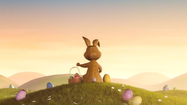 Coniglietto di Pasqua con un cesto e uovo