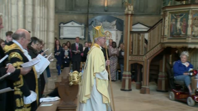 easter celebrated around the world easter celebrated around the world england kent canterbury cathedral int **music heard sot** justin welby along in... - canterbury cathedral stock videos & royalty-free footage