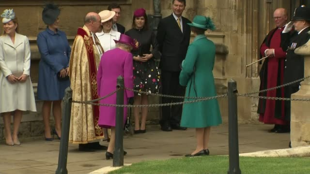 easter celebrated around the world england berkshire windsor castle st george's chapel ext queen elizabeth arriving at church for easter service... - st. george's chapel stock videos and b-roll footage