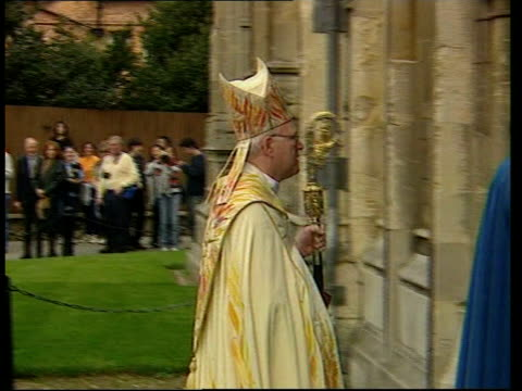 christian celebrations around the world; easter: christian celebrations around the world; pool england: kent: canterbury: ext dr george carey,... - canterbury cathedral stock videos & royalty-free footage