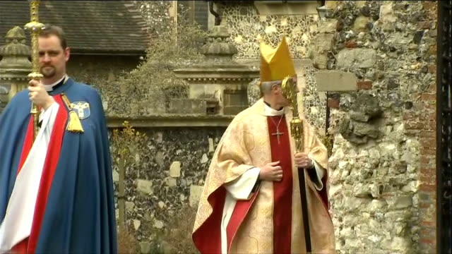 easter day service at canterbury cathedral: arrivals; england: kent: canterbury cathedral: ext church clergy and choir boys procession to cathedral /... - canterbury cathedral stock videos & royalty-free footage
