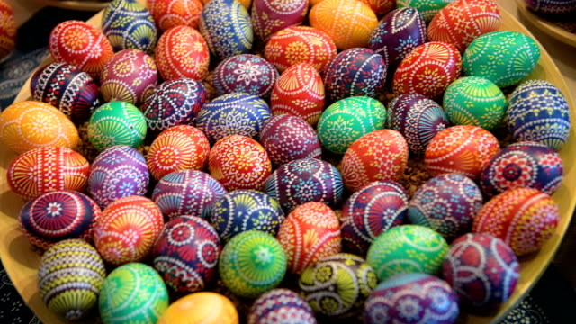 Easter eggs painted by Kerstin Hanusch during the annual Sorbian Easter egg market at the Sorbian cultural center on March 17 2018 in Schleife...
