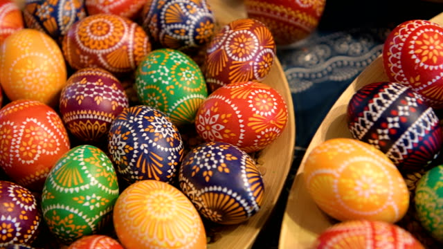 easter eggs painted by kerstin hanusch during the annual sorbian easter egg market at the sorbian cultural center on march 17 2018 in schleife... - annual event stock videos and b-roll footage