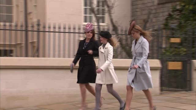 easter queen arrival at st george's chapel england berkshire st george's chapel family arrive including prince andrew prince edward princess beatrice... - easter stock videos & royalty-free footage