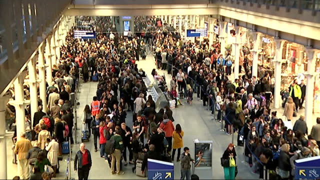 Passengers queuing at St Pancras International ENGLAND London St Pancras International Station INT General views of passengers queuing for Eurostar...