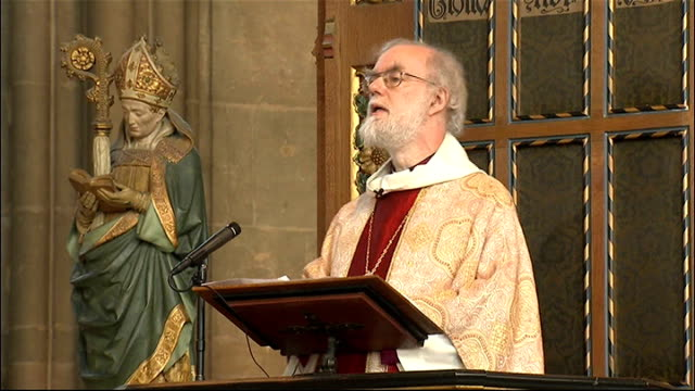 religious leaders messages; england: kent: canterbury cathedral: int doctor rowan williams to pulpit to deliver easter sunday sermon - canterbury cathedral stock videos & royalty-free footage