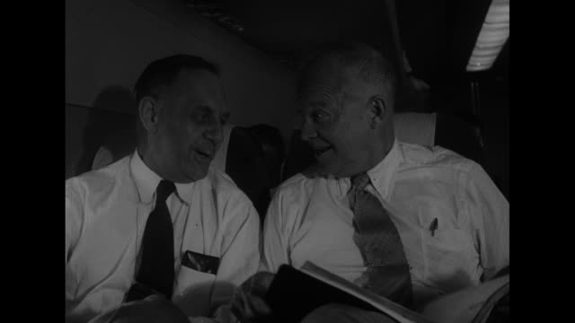 Eastern Airlines plane in the air / US General Dwight Eisenhower continues campaigning across the South / Eisenhower on plane / plane lands and...