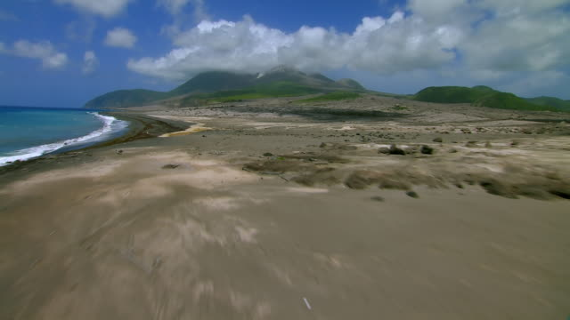 Eastern coastline of Montserrat Island in the Caribbean.