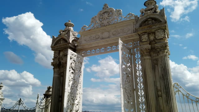 eastern gate of the dolmabahce palace - palace stock videos & royalty-free footage