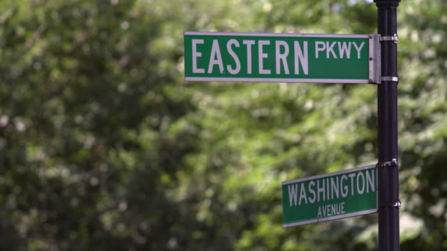 Eastern Parkway and Washington Avenue street signs set against trees with sunlit leaves.