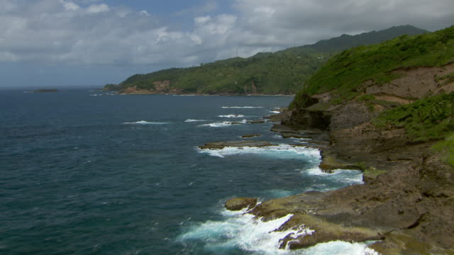 Eastern rocky shore of Dominica south of Atkinson.
