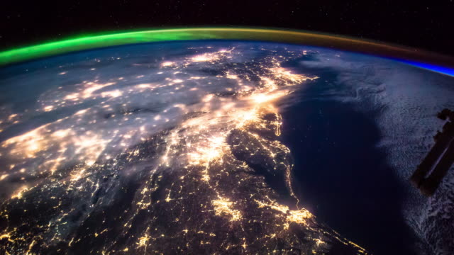 vidéos et rushes de eastern seaboard at night - timelapse from iss - gulf coast states