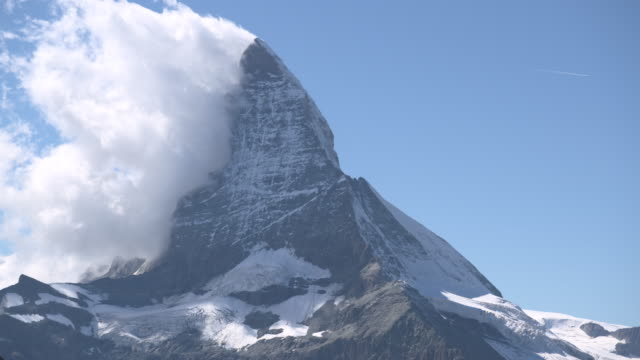 Eastern side of the Matterhorn reflected off the Riffelsee (tilt up)