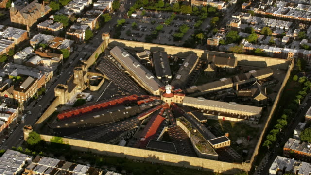 aerial eastern state penitentiary historic site in philadelphia, pa - eastern state penitentiary stock videos & royalty-free footage