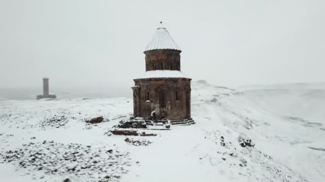 eastern turkey's ancient city of ani is covered with snow in kars province on december 17 2018 located on the turkisharmenian border ani ruins was... - kars stock videos & royalty-free footage