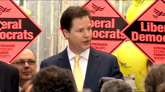 vídeos y material grabado en eventos de stock de eastleigh by-election: lib dems narrowly hold seat; hampshire: eastleigh: ext nick clegg mp speech to party workers sot - today is the day you can... - hampshire