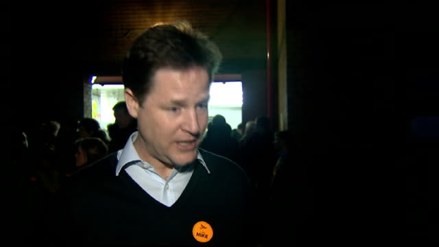 liberal democrat campaign nick clegg mp interview sot re horsemeat / mansion tax / labour should apologise for messing up economy - 馬肉点の映像素材/bロール