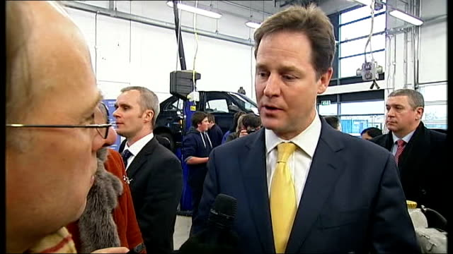 eastleigh by-election: nick clegg joins campaign; england: hampshire: eastleigh: eastleigh college: int nick clegg mp interview on chris huhne sot - クリス ヒューン点の映像素材/bロール