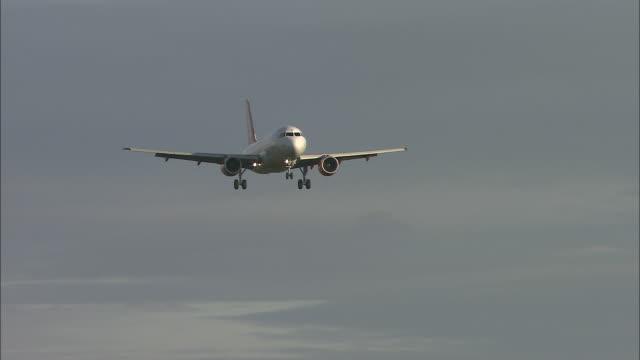 ws ts cu easy jet airplane landing on runway, belfast airport, ireland, united kingdom - northern ireland stock videos & royalty-free footage
