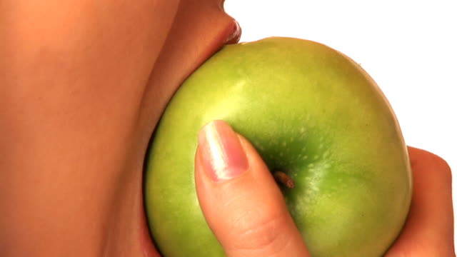 hd: eating an apple - vitamin a nutrient stock videos and b-roll footage