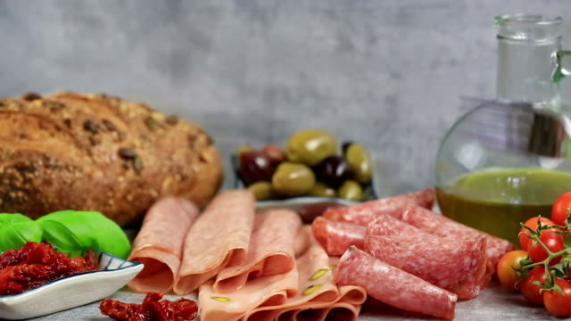 eating antipasto. - italian food stock videos and b-roll footage