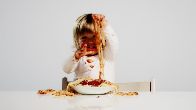 eating child - spaghetti stock videos & royalty-free footage