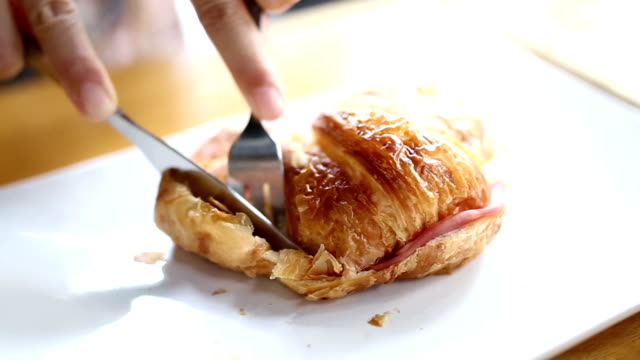 eating croissant - croissant stock videos & royalty-free footage