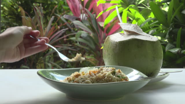 eating fried rice with chicken and fresh coconut - fried rice stock videos and b-roll footage