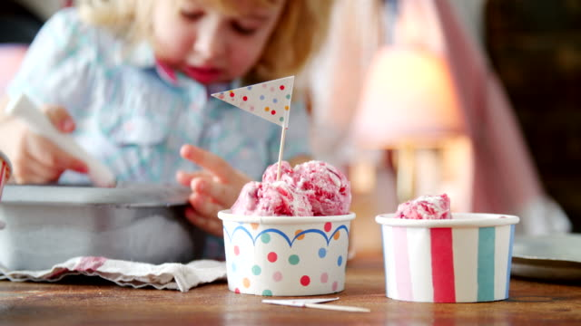 Eating Homemade Strawberry Ice Cream