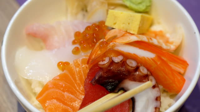 Eating Japanese food.