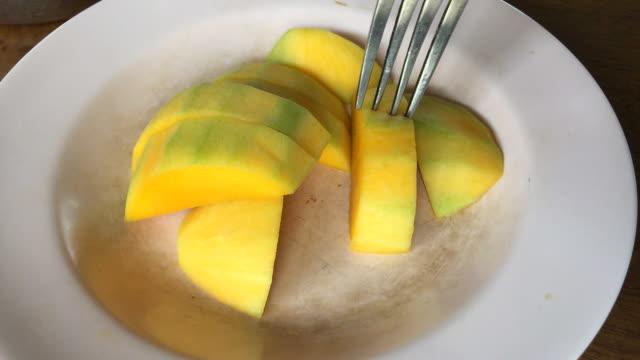 eating mango - mango stock videos and b-roll footage